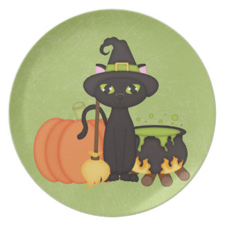 Gato lindo retro del búho de Halloween Plato De Comida