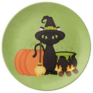 Gato lindo retro del búho de Halloween Platos De Cerámica