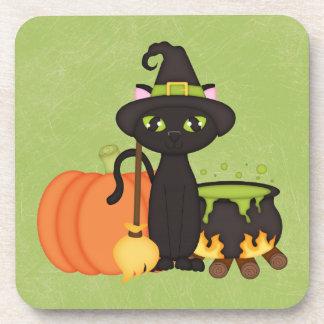 Gato lindo retro del búho de Halloween Posavasos