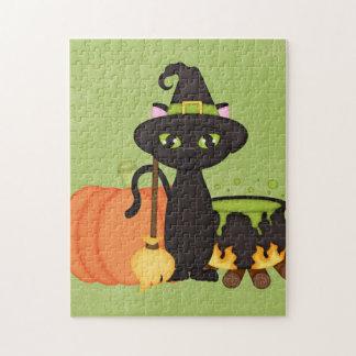 Gato lindo retro del búho de Halloween Rompecabeza Con Fotos