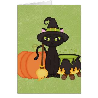 Gato lindo retro del búho de Halloween Felicitaciones