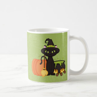 Gato lindo retro del búho de Halloween Tazas De Café