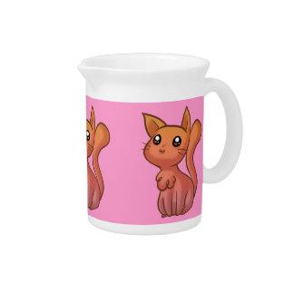 Gato lindo rosado anaranjado del dibujo animado jarras para bebida