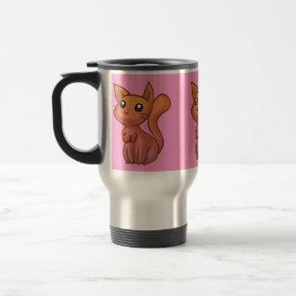 Gato lindo rosado anaranjado del dibujo animado taza térmica