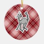 Gato lindo; Tela escocesa roja Adorno Para Reyes