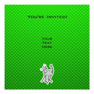 Gato lindo; Verde Invitación 13,3 Cm X 13,3cm
