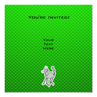 """Gato lindo; Verde Invitación 5.25"""" X 5.25"""""""