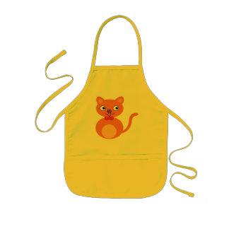 Gato lindo y anaranjado delantal infantil