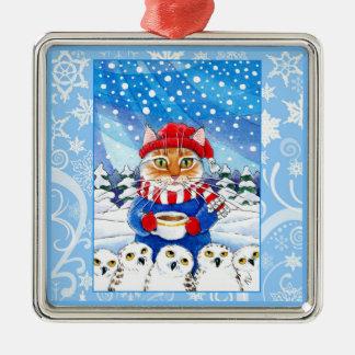 Gato lindo y búhos nevosos, ornamento de la nieve adorno navideño cuadrado de metal