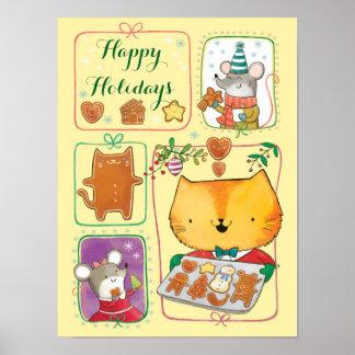 Gato lindo y poster de las Felices Navidad de los