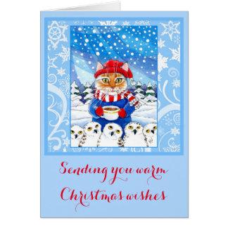 Gato lindo y tarjeta nevosa del invierno del
