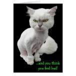 Gato loco avinagrado, lindo 2 tarjeta de felicitación