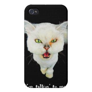 Gato loco avinagrado, lindo iPhone 4 fundas