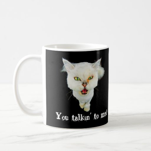 Gato loco avinagrado, lindo taza básica blanca