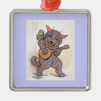 Gato loco con arte del vintage de Louis Wain del Adorno Navideño Cuadrado De Metal