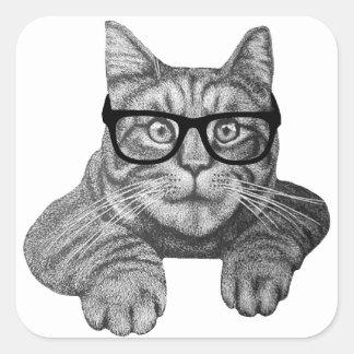 gato loco del friki de la señora del gato pegatina cuadrada