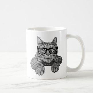 gato loco del friki de la señora del gato taza clásica