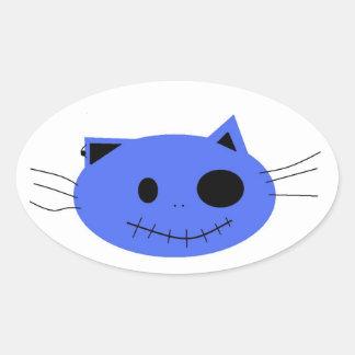 gato loco; diseños pegatina ovalada