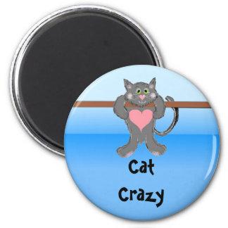 Gato loco imán redondo 5 cm