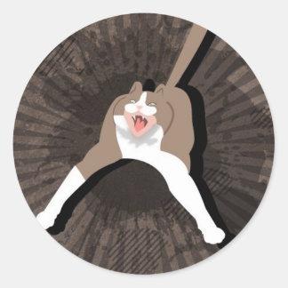 Gato loco pegatinas redondas