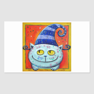 Gato mágico con el gorra de hadas pegatina rectangular