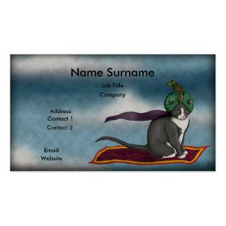 Gato mágico de la alfombra, plantilla de la tarjetas de visita