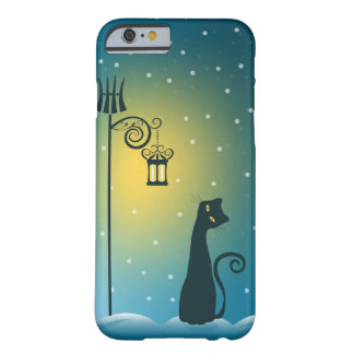 Gato mágico del navidad del invierno funda barely there iPhone 6