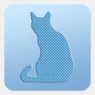 Gato manchado - sombras del azul pegatinas cuadradases