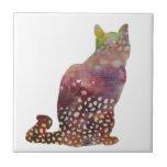 gato manchado tejas  cerámicas