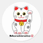 Gato Manekineko-Afortunado Pegatinas Redondas