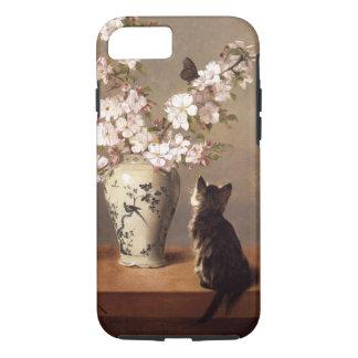 Gato, mariposa, y florero de flores funda iPhone 7