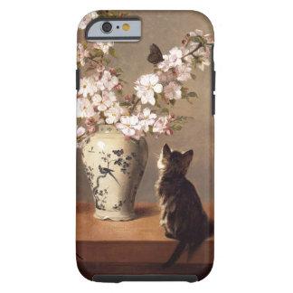 Gato, mariposa, y florero de flores funda resistente iPhone 6