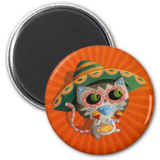 Gato mexicano con el sombrero imán redondo 5 cm