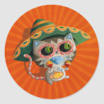 Gato mexicano con el sombrero pegatina redonda