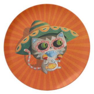 Gato mexicano con el sombrero platos para fiestas