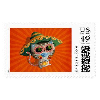 Gato mexicano con el sombrero sello postal