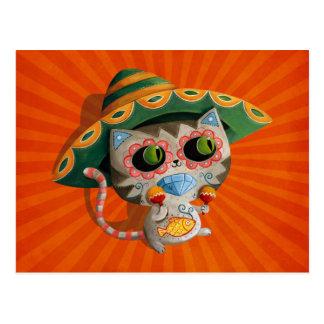 Gato mexicano con el sombrero postal