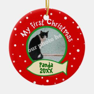 Gato mi primer navidad rojo y foto verde del adorno redondo de cerámica