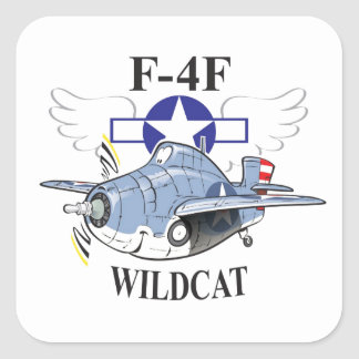 gato montés de f4f pegatina cuadrada