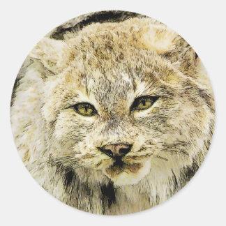 Gato montés grande pegatina redonda