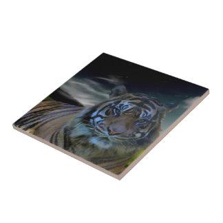 Gato montés salvaje de la acuarela del tigre teja