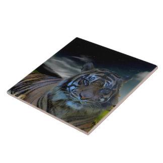 Gato montés salvaje de la acuarela del tigre teja  ceramica