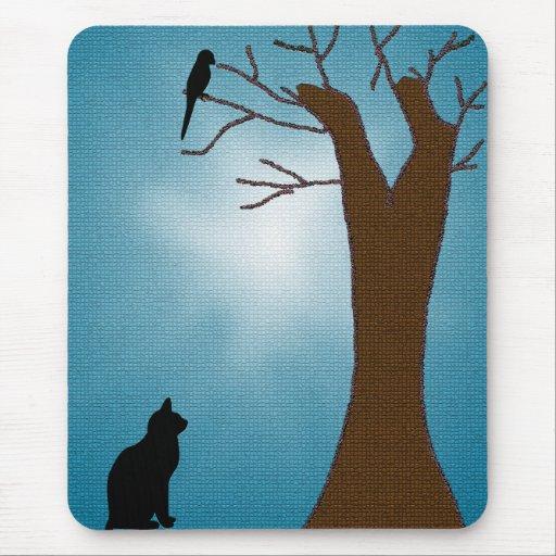 Gato Mousepad de la observación de pájaros Alfombrilla De Raton