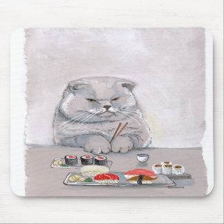 Gato Mousepad del sushi Alfombrillas De Ratones