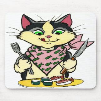 Gato Mousepad del sushi Alfombrillas De Raton