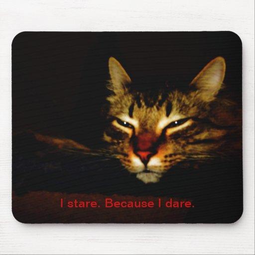 Gato Mousepad el mirar fijamente Tapetes De Ratón