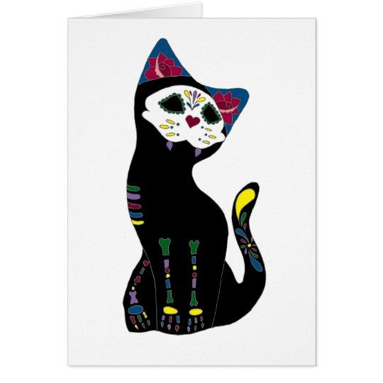 'Gato Muerto' Dia De Los Muertos Cat Card