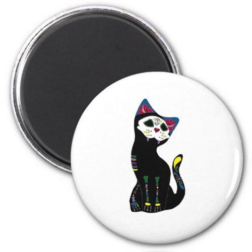 Gato Muerto Dia De Los Muertos Cat Magnet