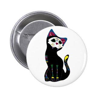 """""""Gato Muerto"""" Dia De Los Muertos Cat Pin Redondo De 2 Pulgadas"""