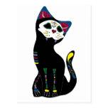 """""""Gato Muerto"""" Dia De Los Muertos Cat Postal"""